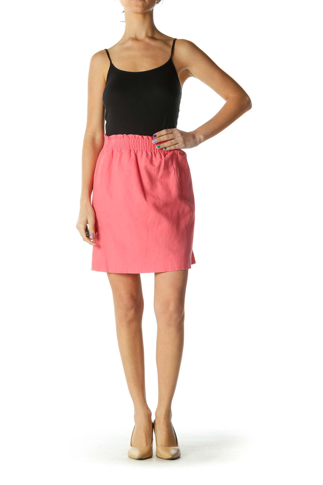 Pink Elastic Waistband Pocketed A-Line Skirt
