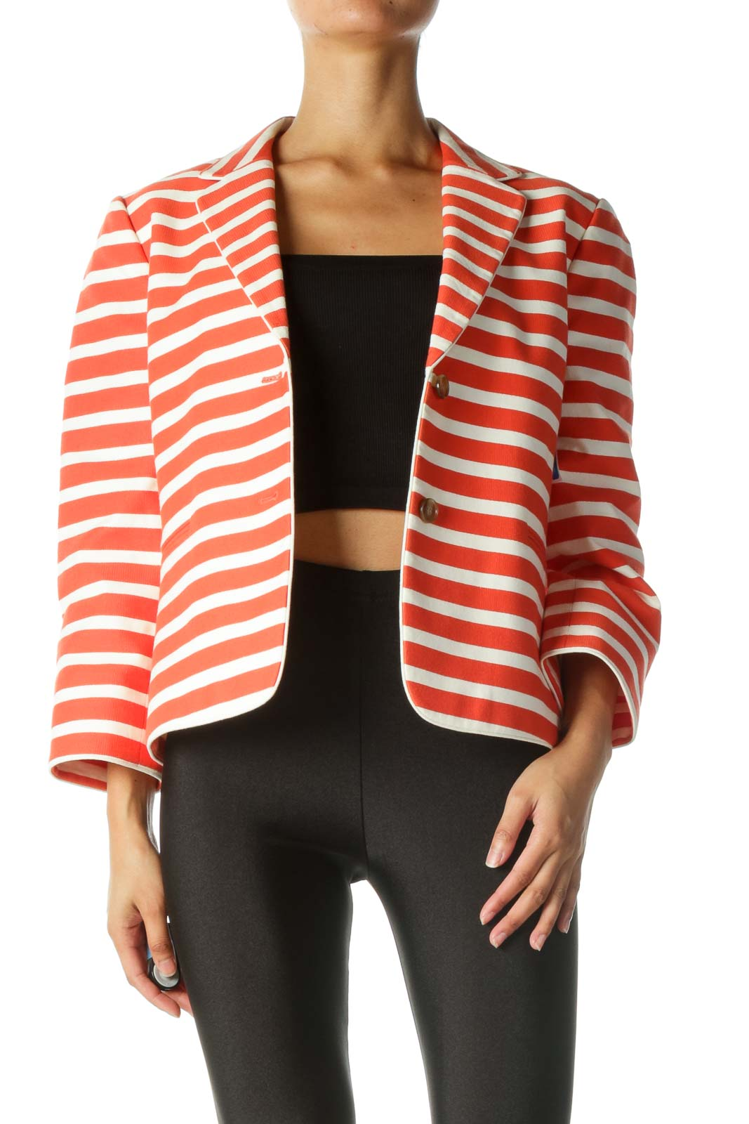 Cream and Orange Striped Blazer