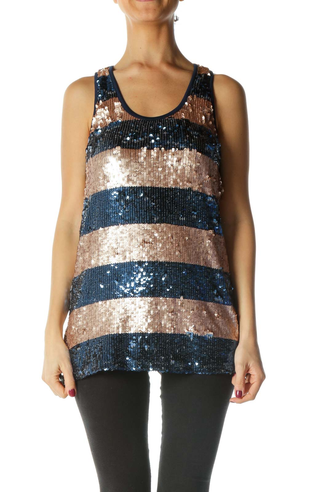 Blue and Brown Sequined Tank Top