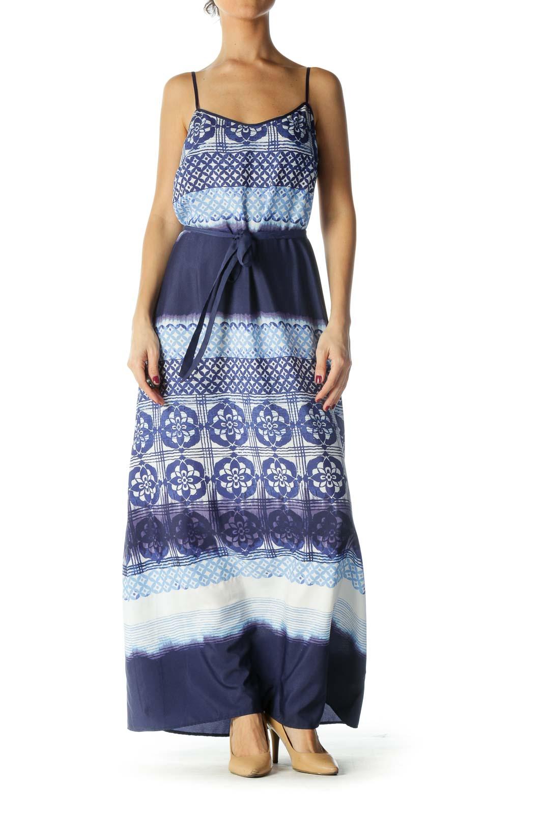 Blue, Navy, Beige Spaghetti Printed Waist Tie Maxi Day Dress