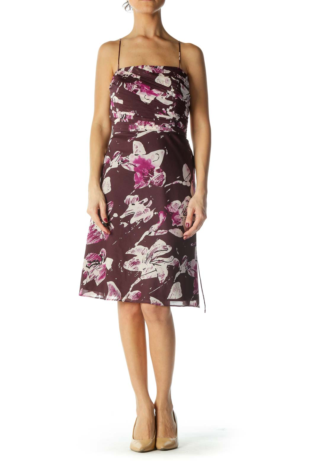 Purple Floral Spaghetti Strap Waist Tie Cocktail Dress