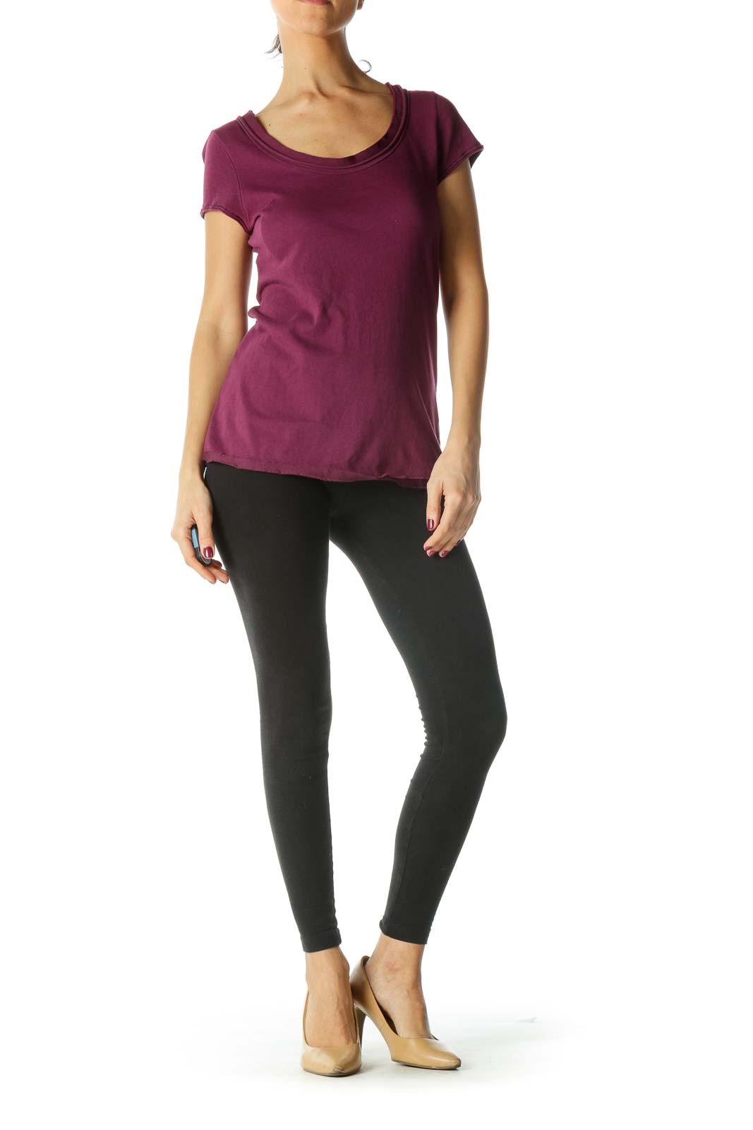 Purple Neckline Trim Shirt