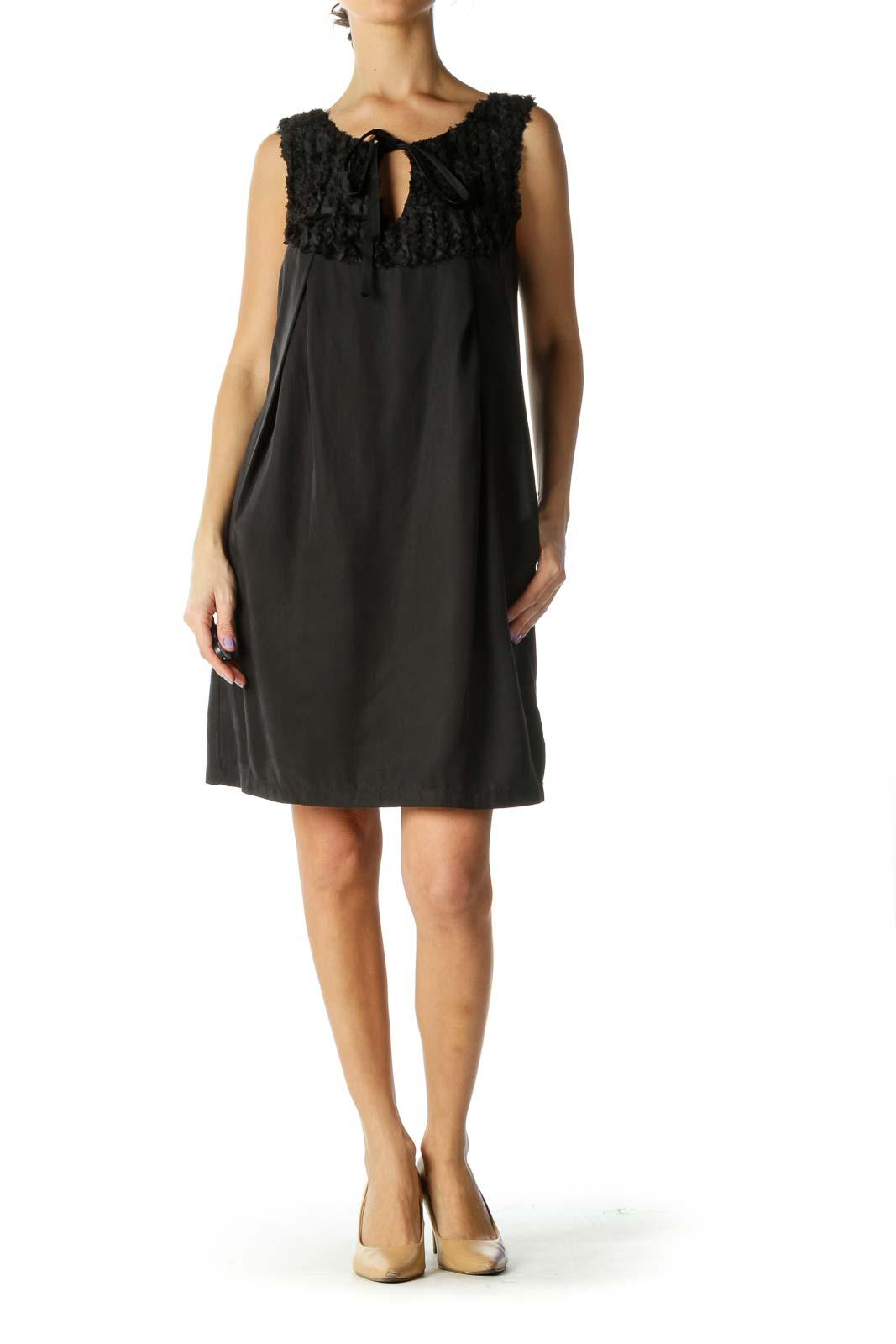Black Ruffled Detail Dress