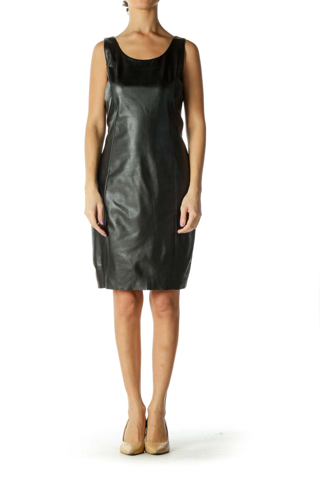 Black Fitter Pleather Dress