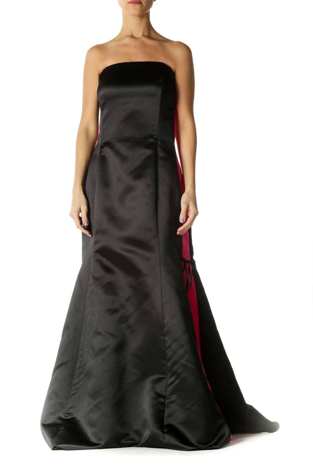 Black Pink Strapless Evening Gown