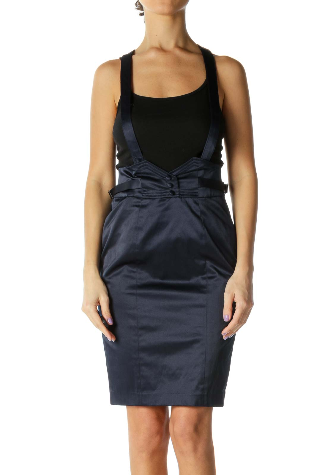 Navy Satin Overall Skirt