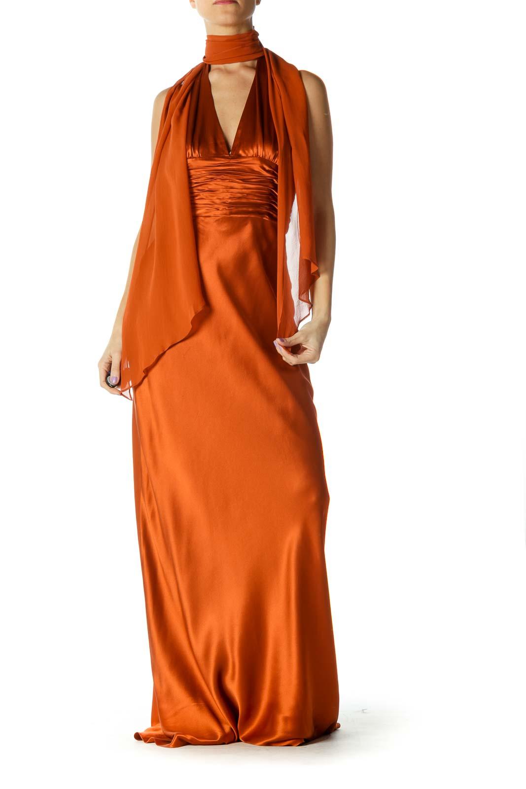 Orange Silk Evening Dress