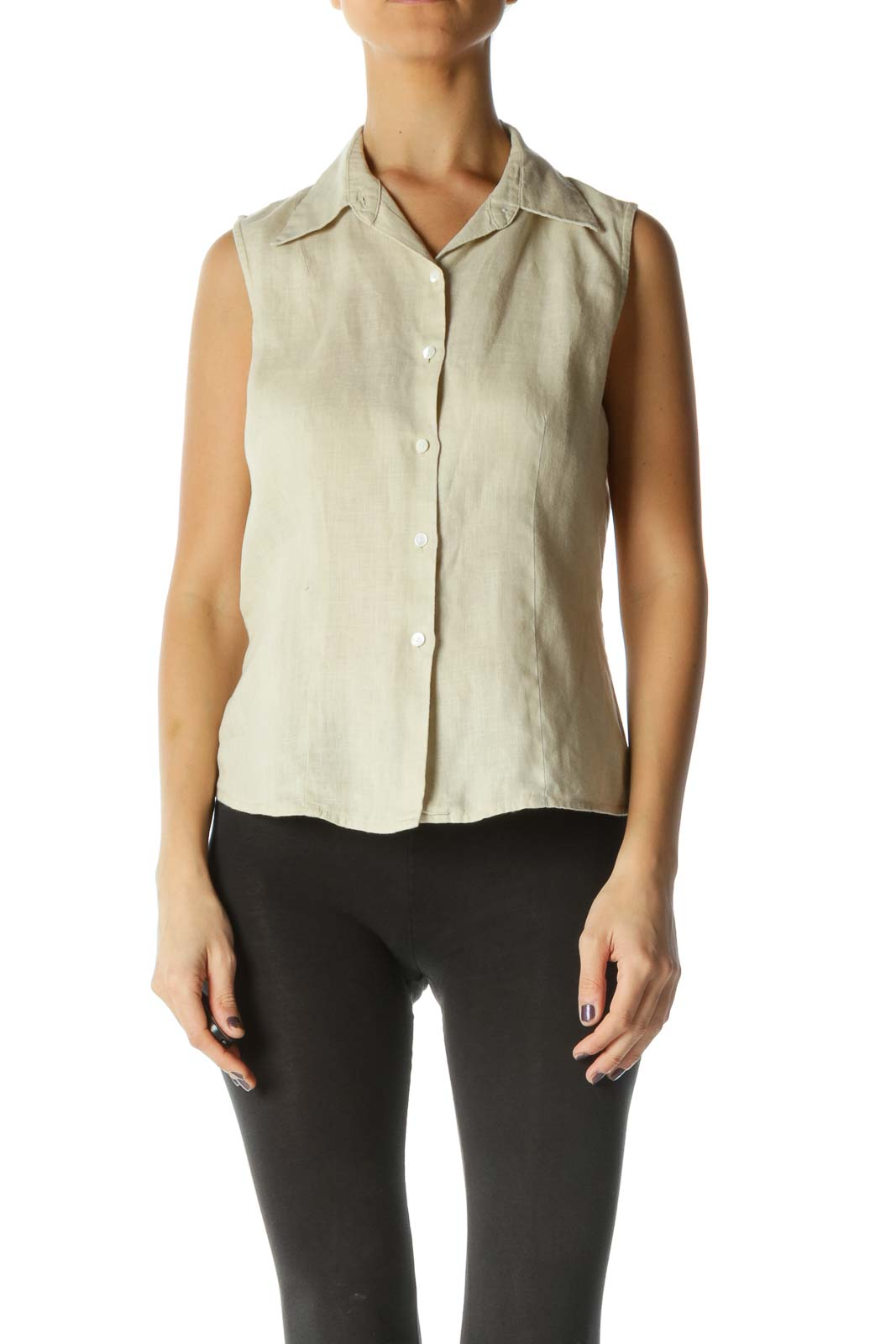 Beige Collared Buttoned 100% Linen Top