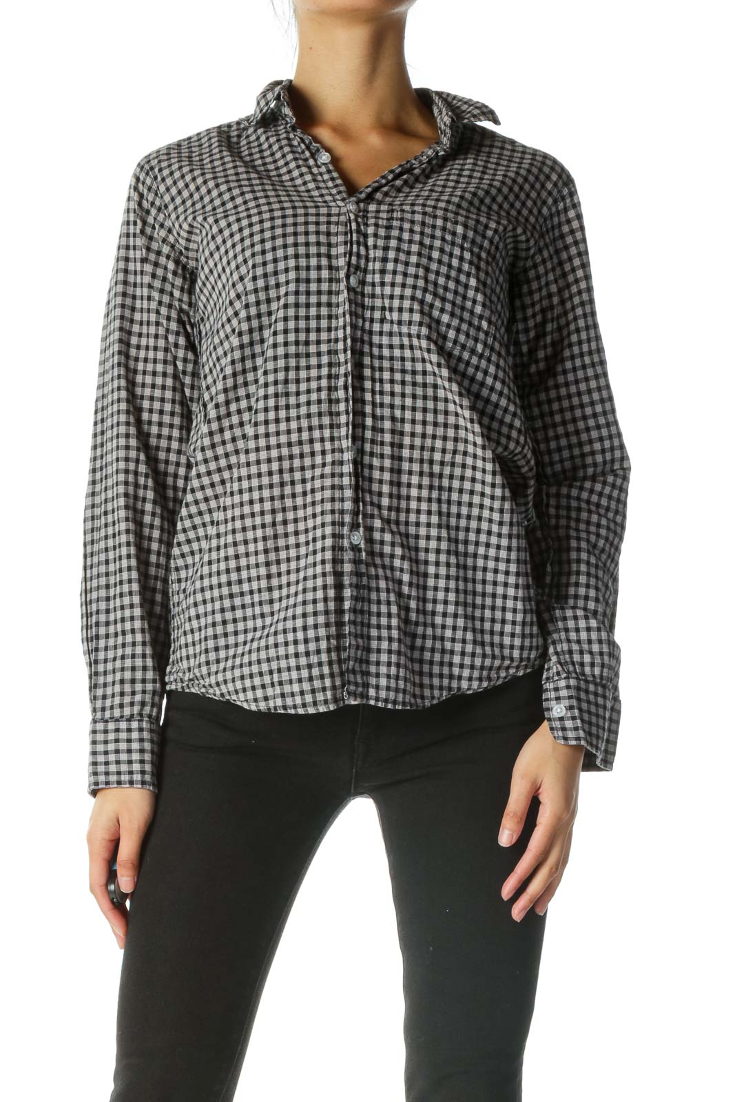 Black Gray 100% Cotton Shirt