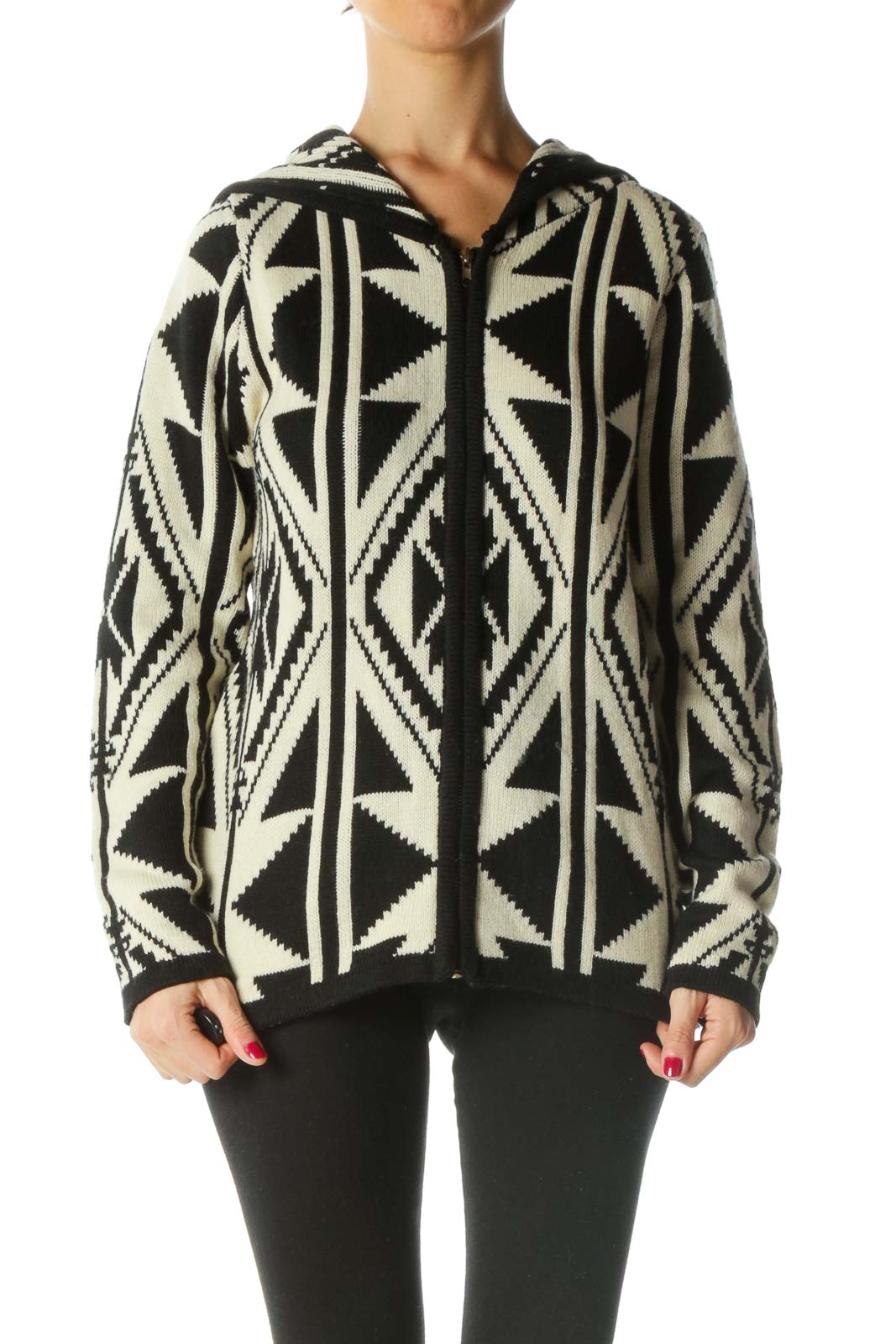 Black Cream Hooded Knitted Pattern Zippered Cardigan