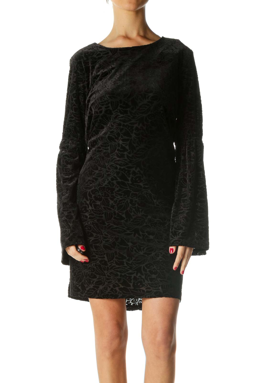 Black Velvet Bell-Sleeve Shift Dress