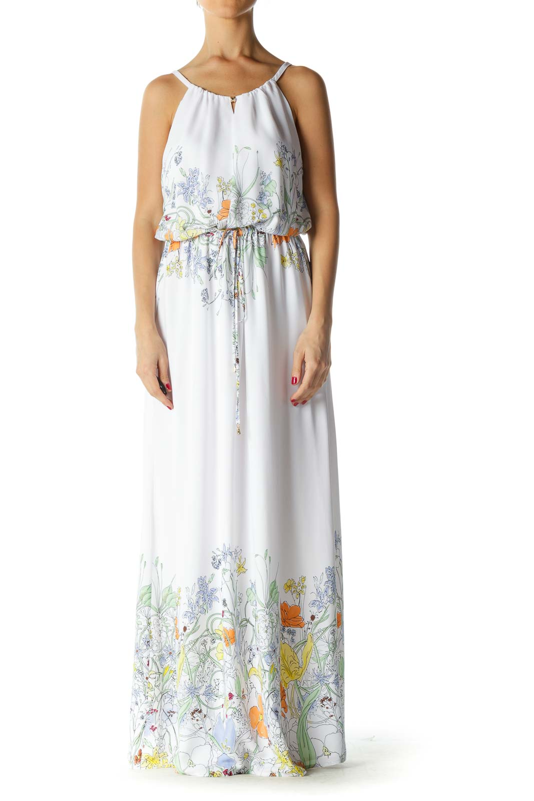 White Multicolor Floral Print Maxi Dress