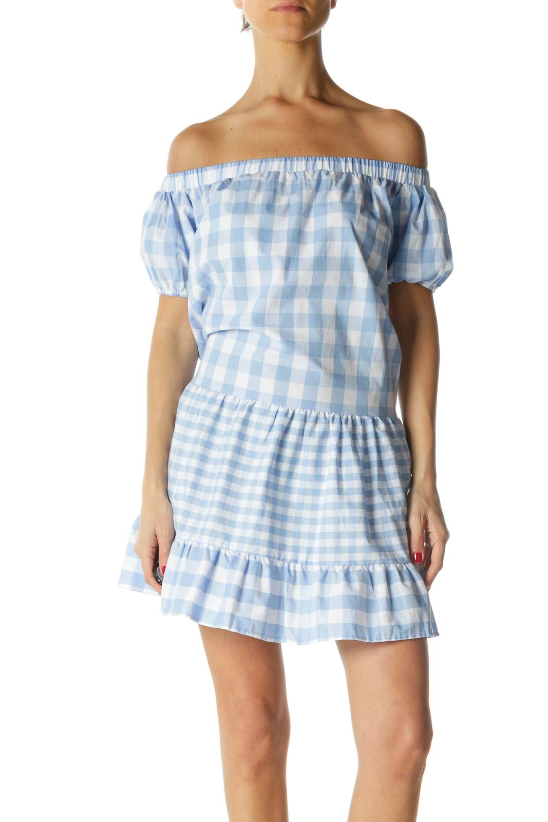 Blue and White Plaid Day Dress
