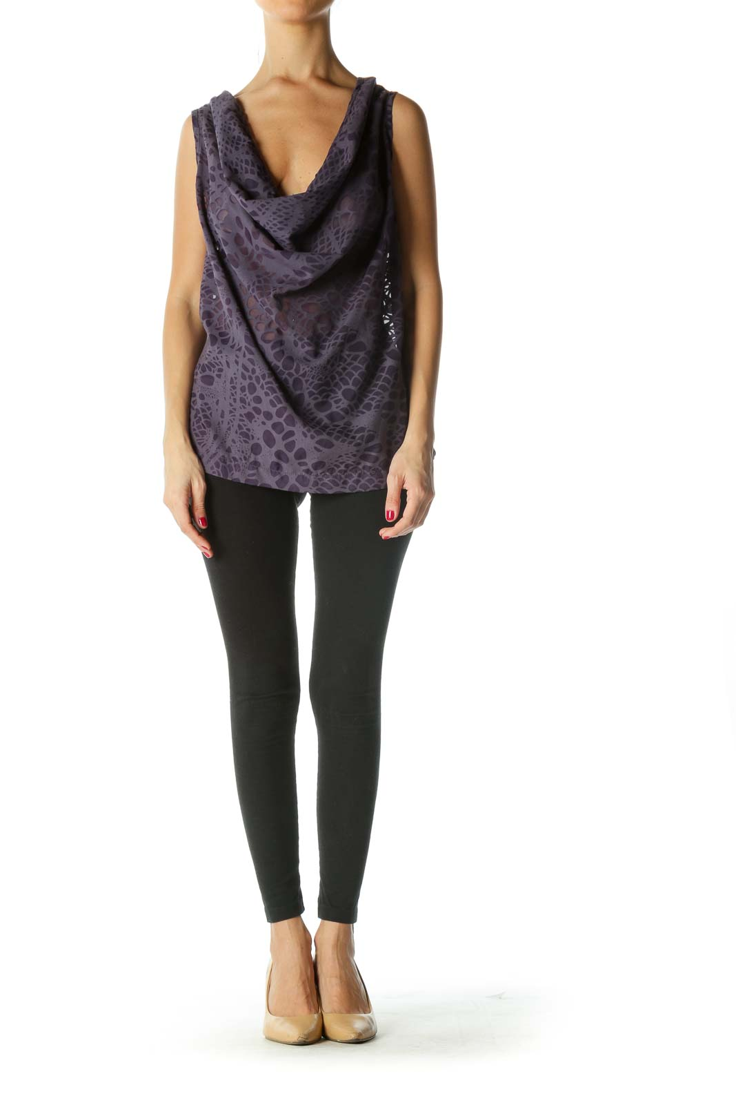 Purple See-Through Pattern Cowl Neck Top