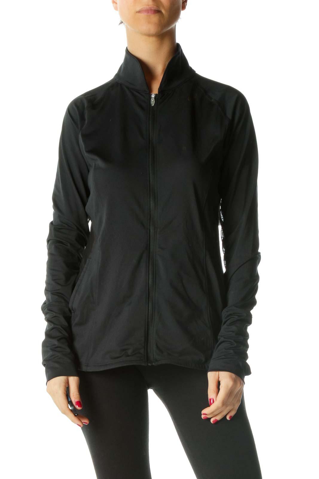 Black Zippered Sheer Detail Active Jacket