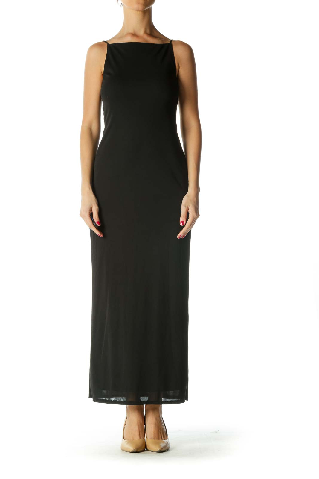 Black Maxi Evening Dress with Back Detail