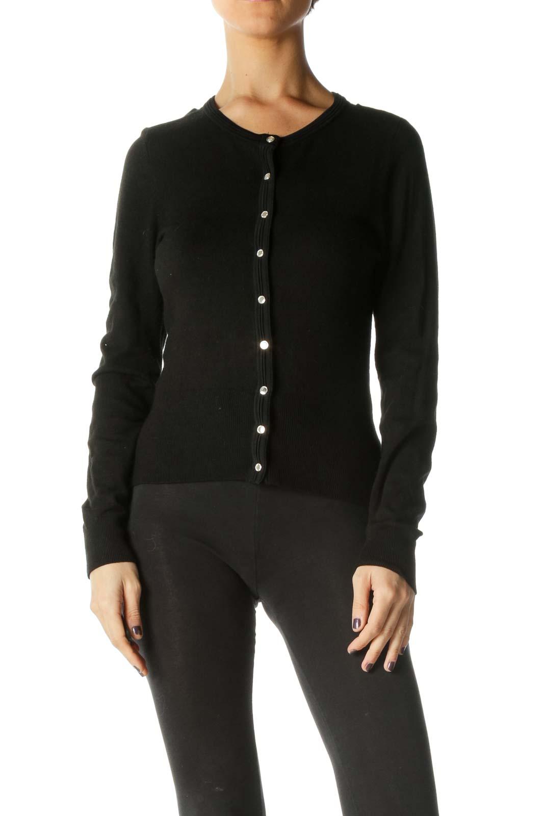 Black Solid Crewneck Sweater