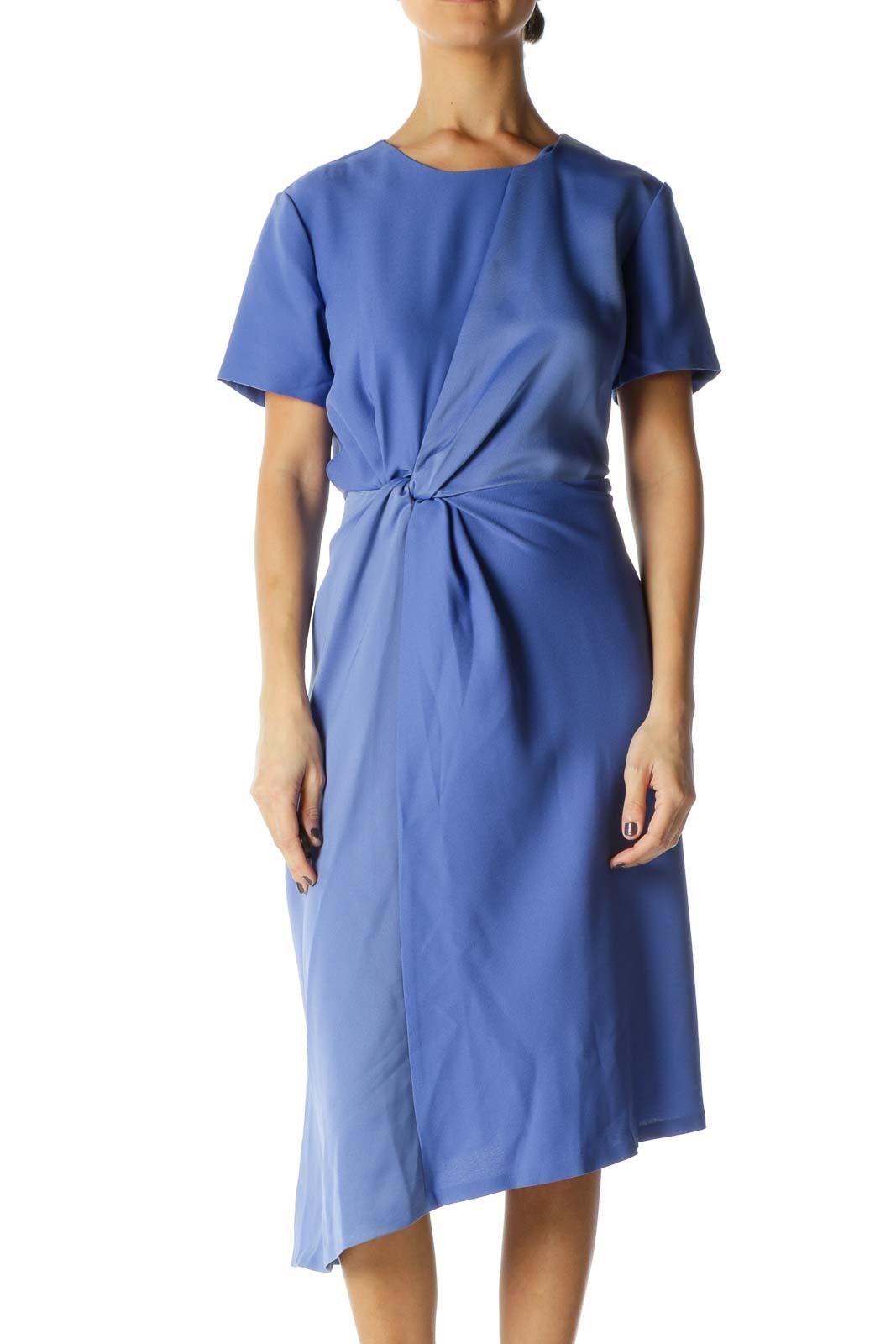 Blue Solid Crewneck A-Line Dresse
