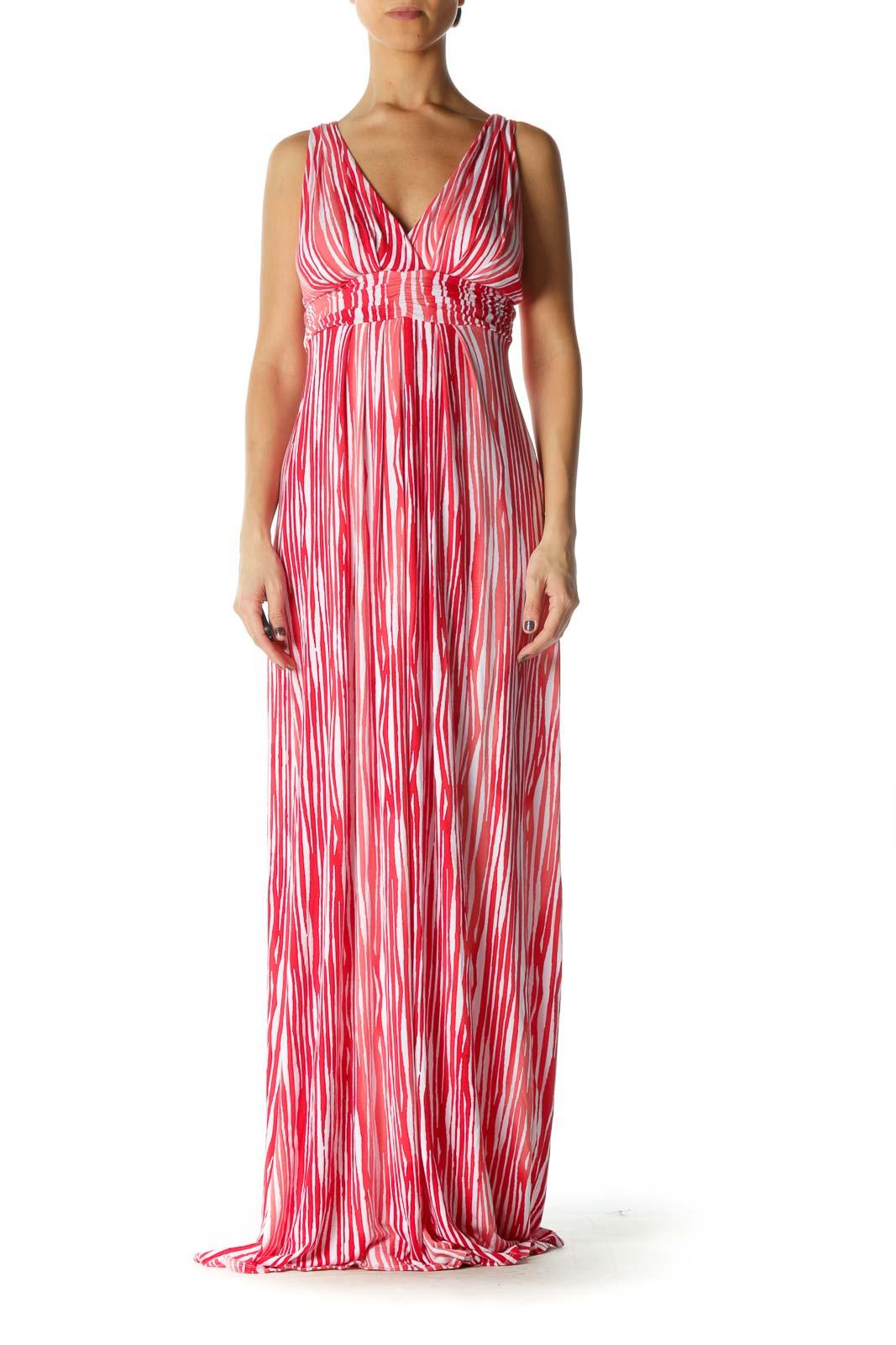 Red Stripe V Neck Column Dress