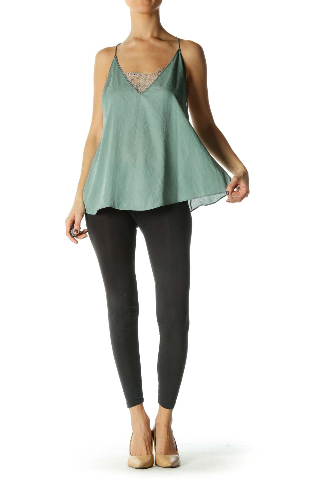 Green Flared Tank Top w/ White Lace Liner