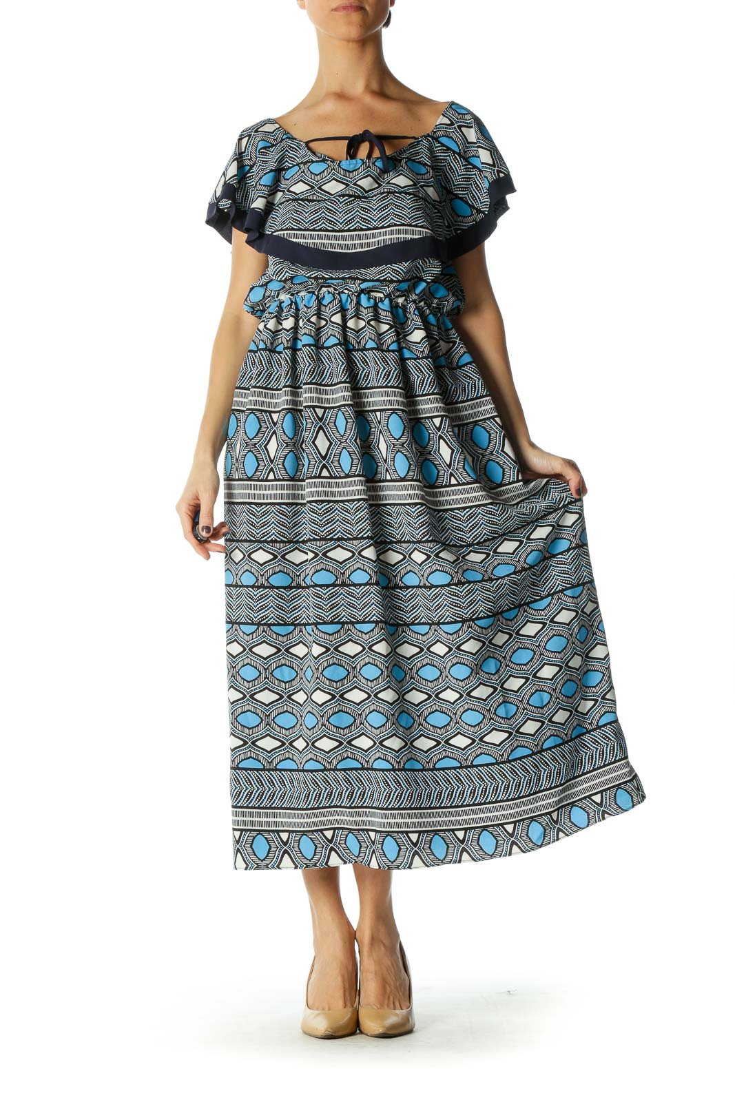 Blue Boatneck A-Line Dress