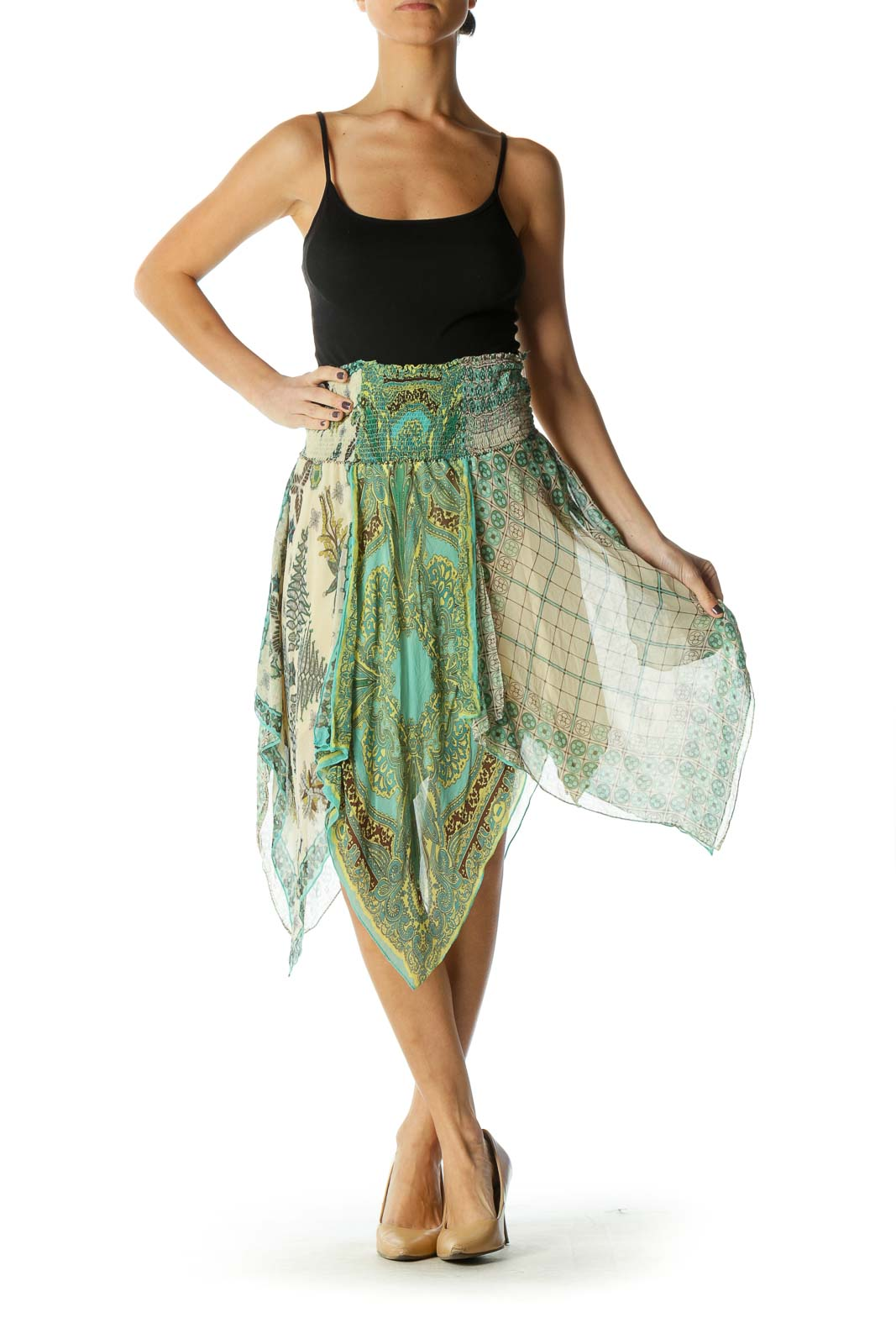 Green Chic Pleated Skirts