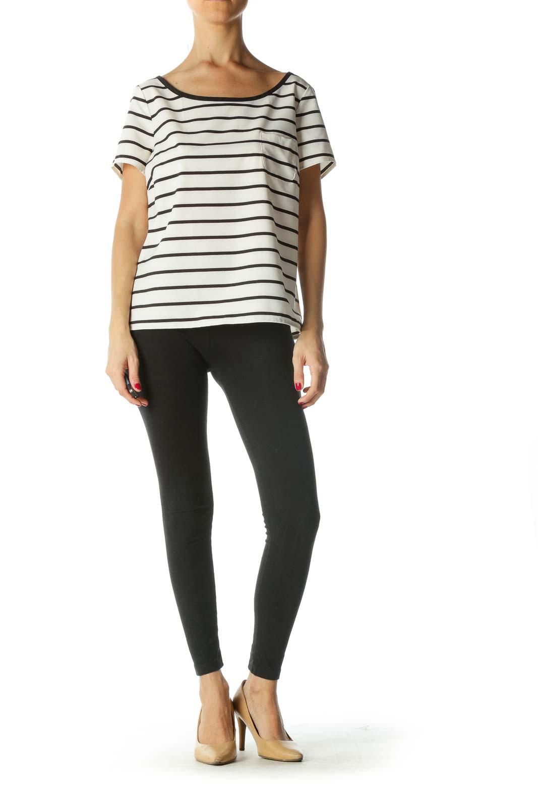 Black Cream Striped Short-Sleeve Top