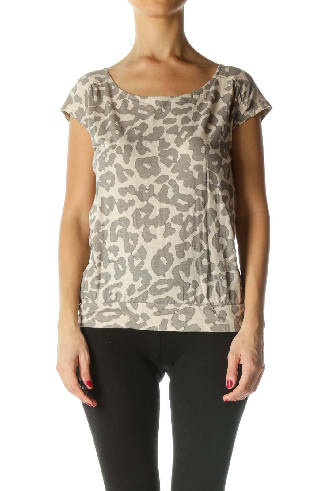 Beige Gray Animal-Print Elastic Waist Top
