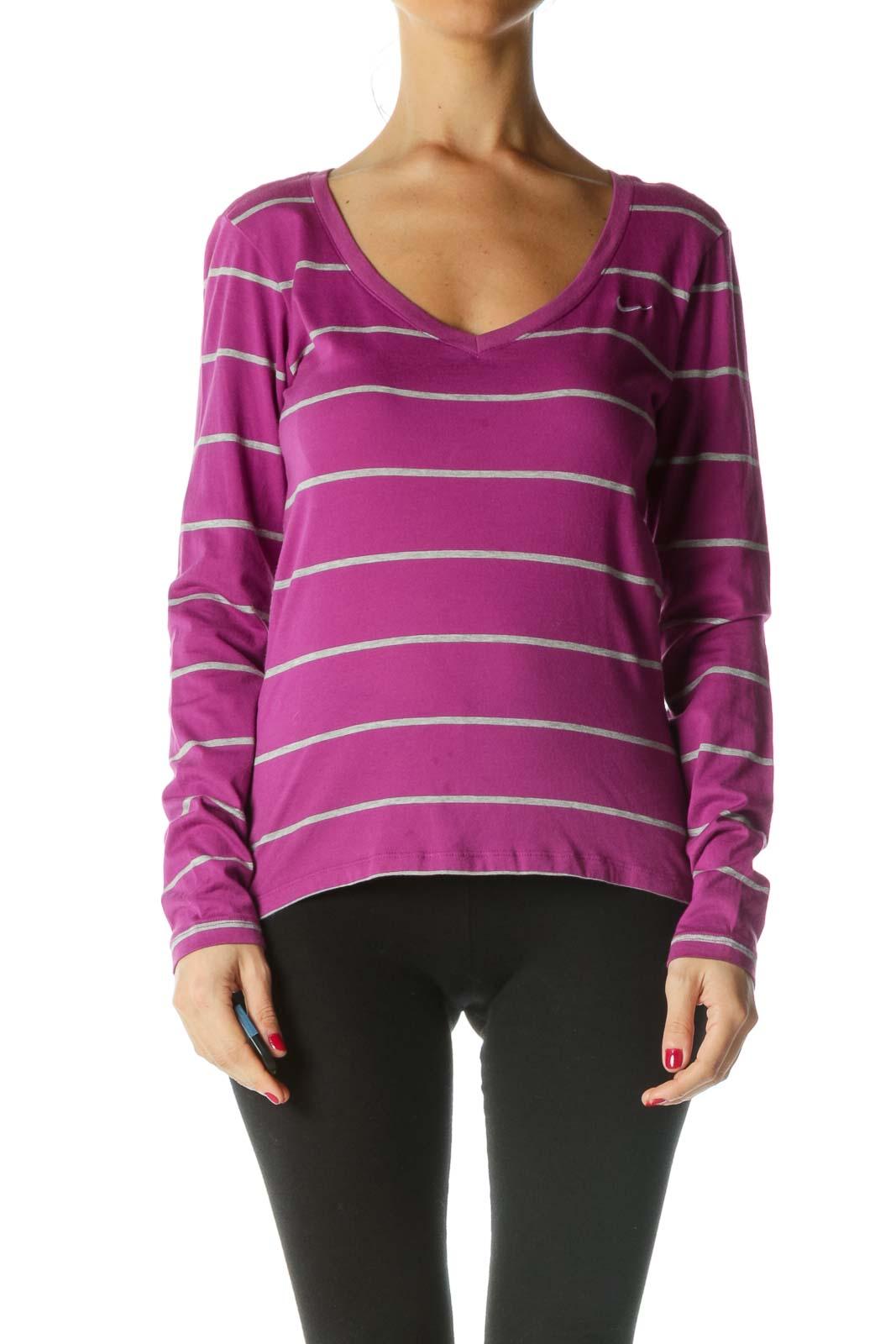 Purple Gray Striped V-Neck Active Top