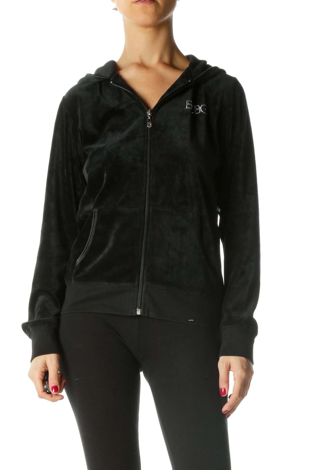 Black Velvet Hooded Fitted Jacket
