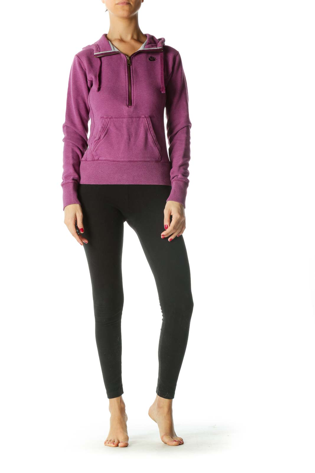 Purple Pocketed Pullover Active Jacket