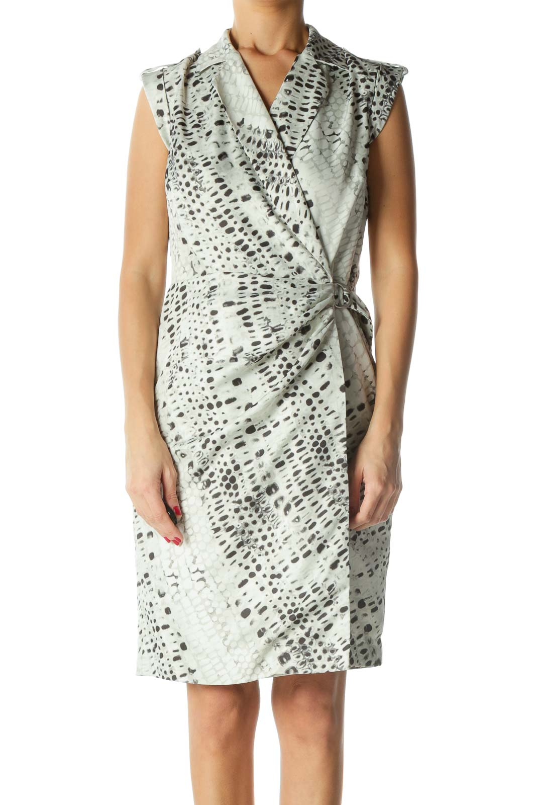 Black and Silver Print Wrap Dress