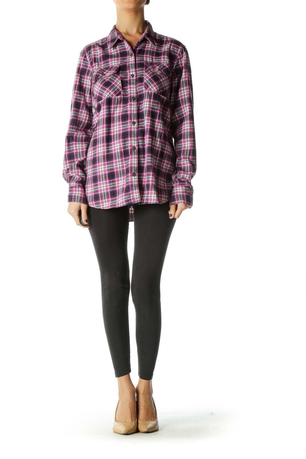 Purple Check Collared Shirt