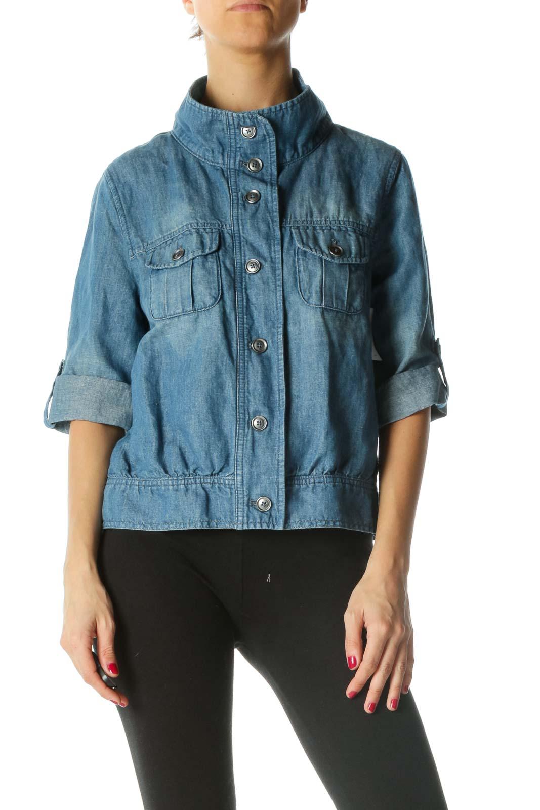 Blue Cotton Linen Buttoned Top