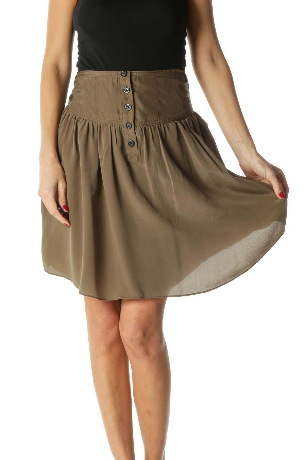 Green 100% Silk Pleated Buttoned Skirt