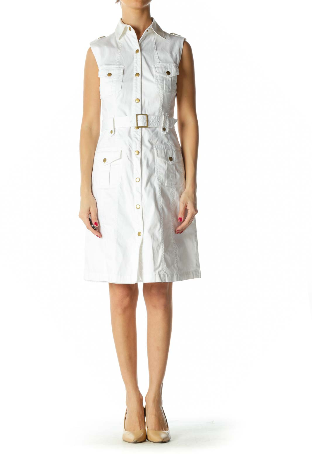 White Sleeveless Utility Dress