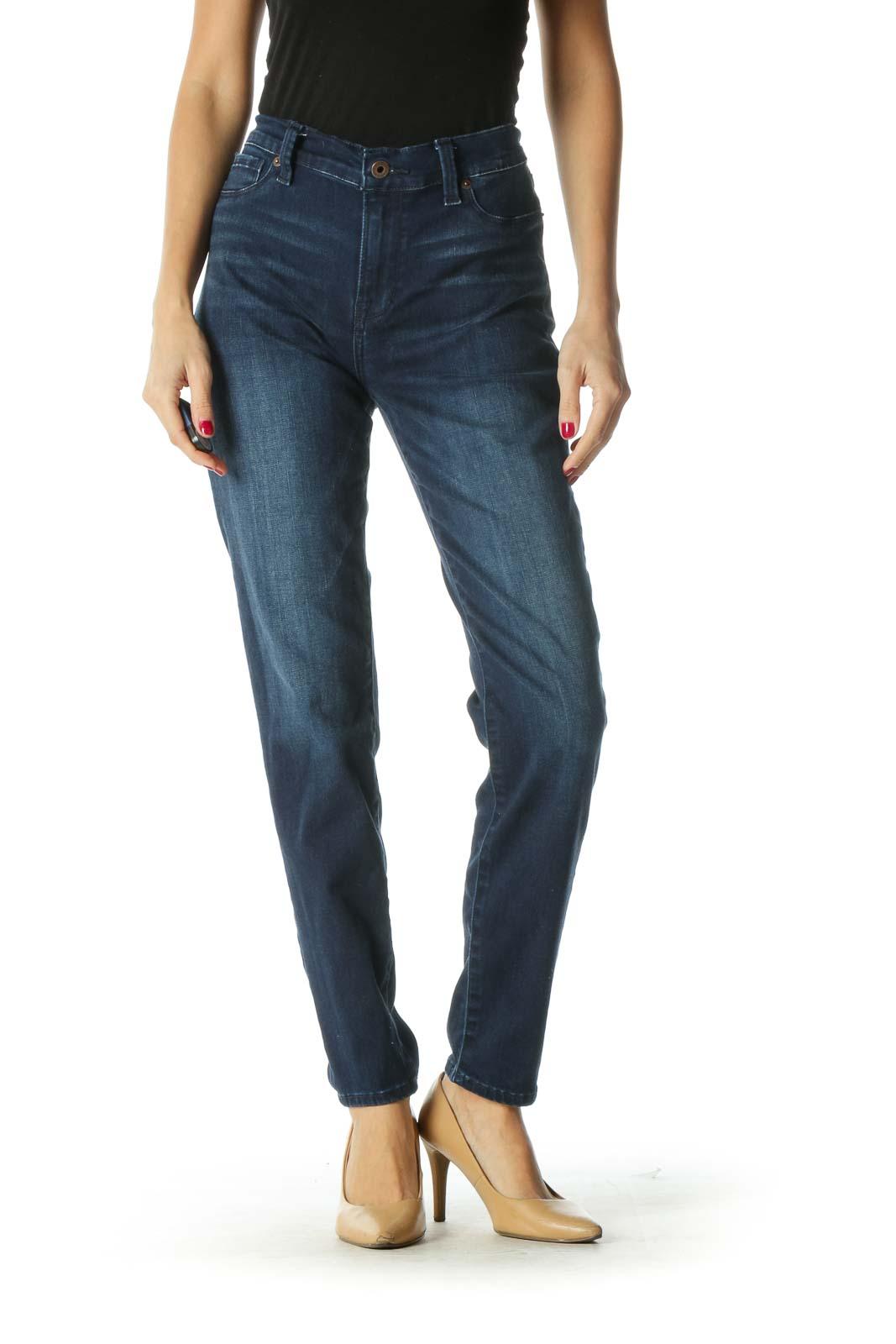 Blue Dark Wash Stretchy Straight Leg Jeans