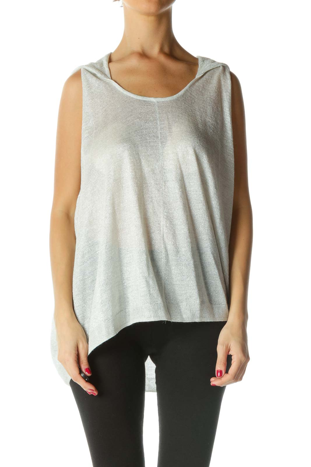 Gray Silver Hooded Oversize Knit Top