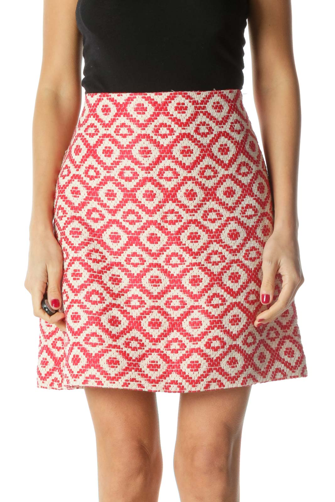 Red Gold White Knit Pattern A-Line Skirt