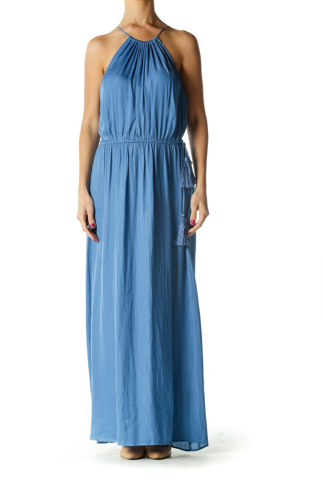 Blue Maxi Halter Dress