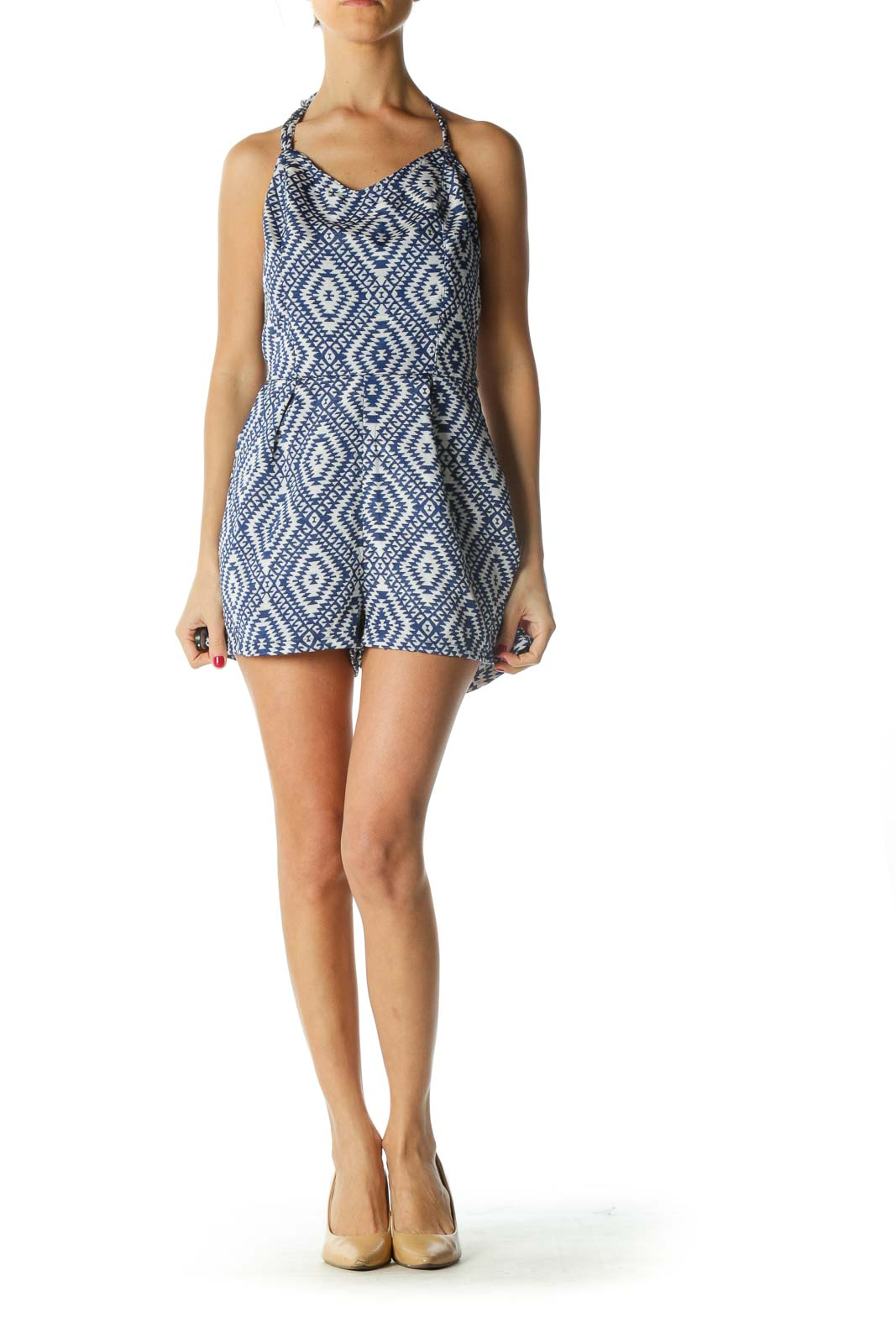 Blue and Silver Tribal Print Halter Romper
