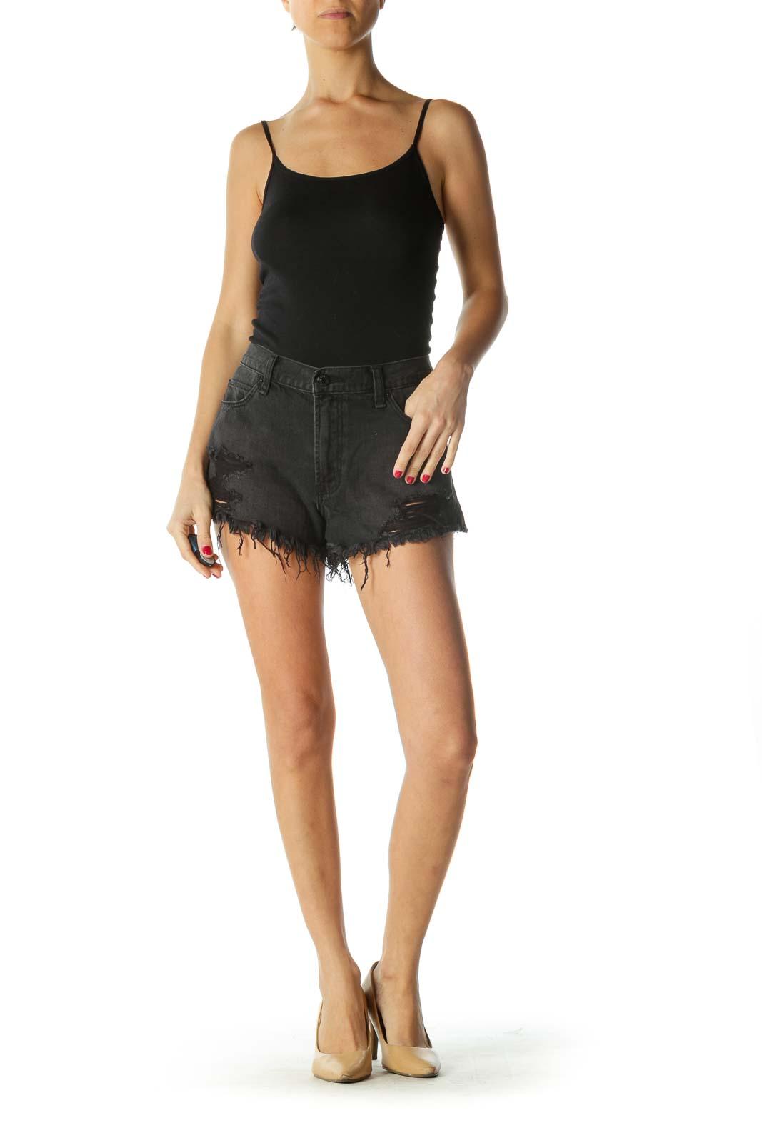 Black Distressed High-Rise Shorts