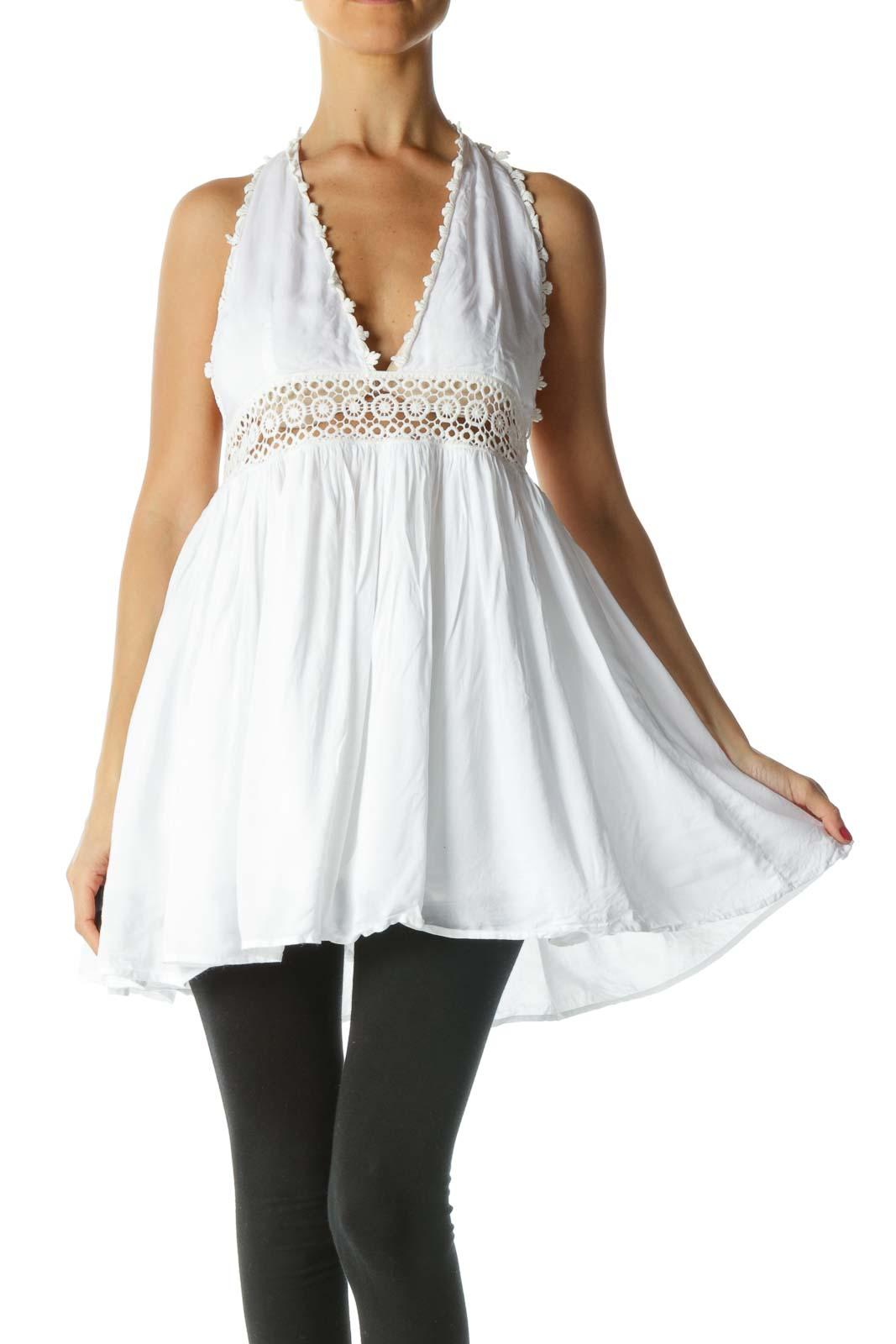 White Cream Crochet Knit Halter Neckline Top