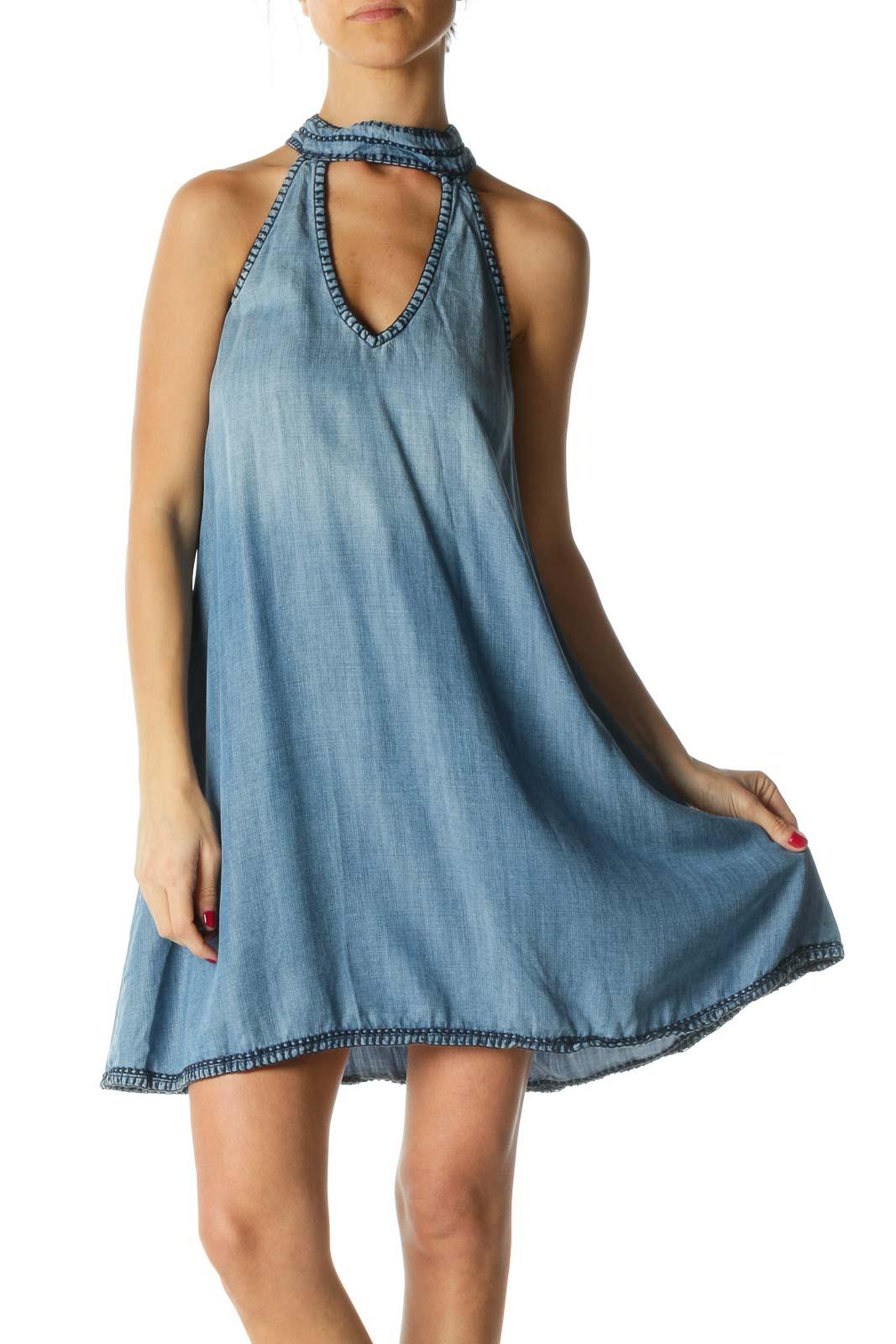 Blue Mock Neck Sleeveless Shift Dress