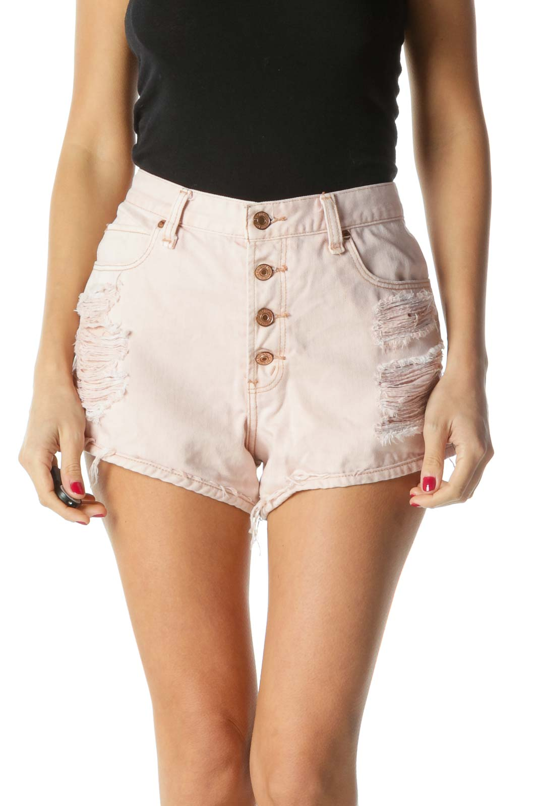 Pink Distressed High-Rise Shorts