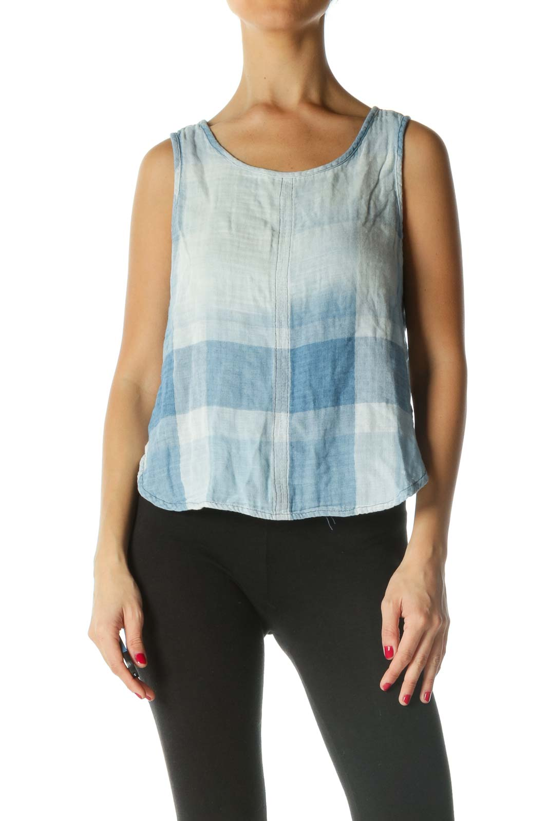 Blue White Gingham Knit Crop Top