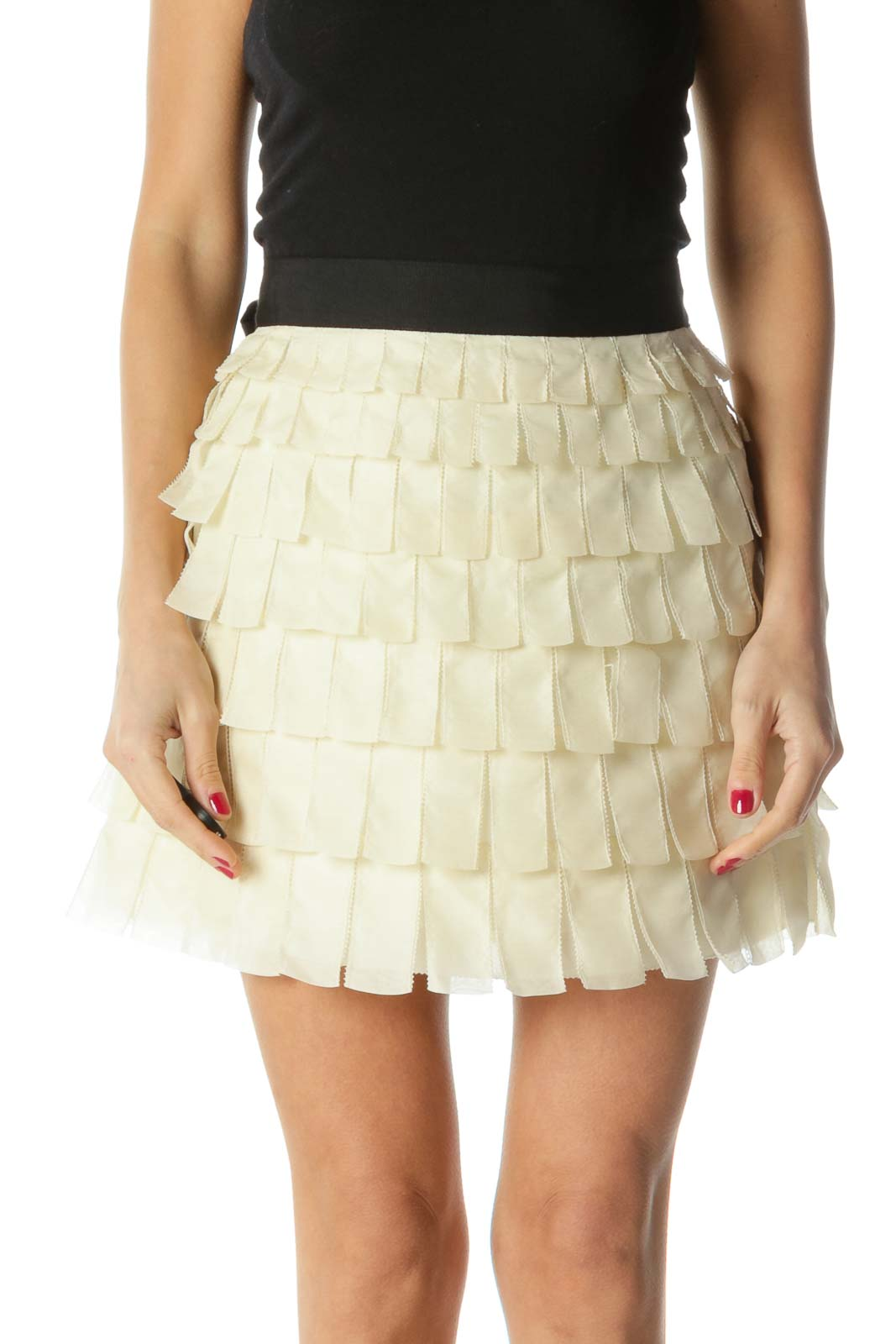 Cream Black Layered Appliques Skirt