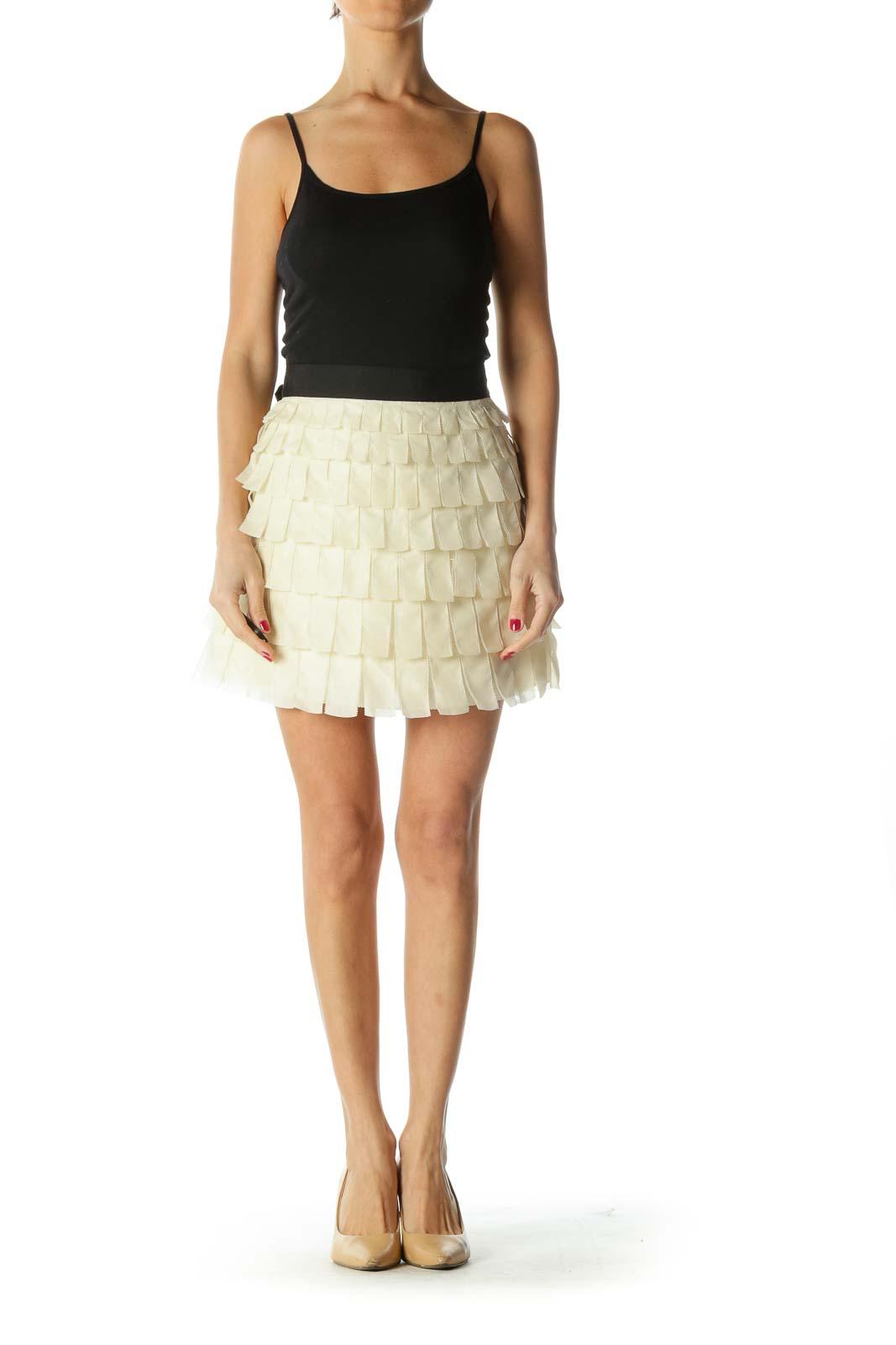 Cream Black Layered Appliques Skirt