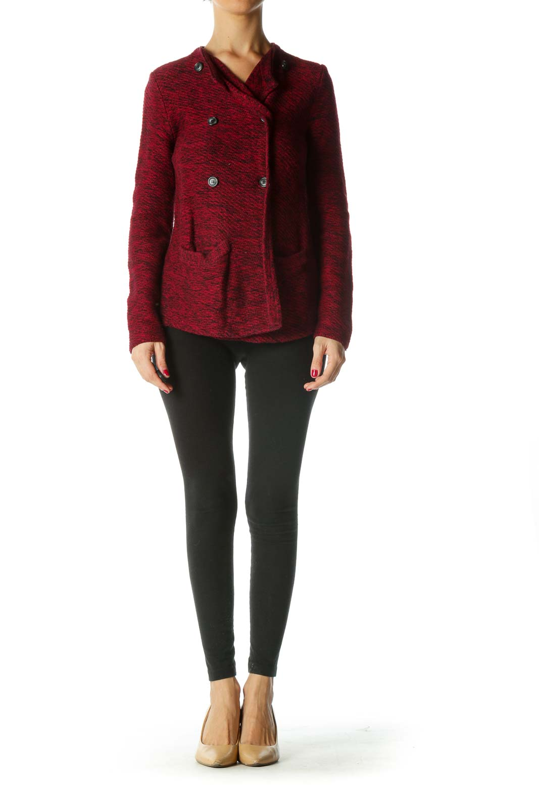 Red Black Double-Breasted Buttoned Knit Cardigan