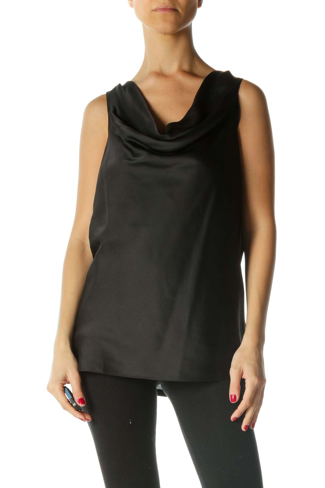 Black Mixed Media Cowl Neck Sleeveless Top